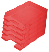 Briefablage homeoffice styrofile C4 rot transparent Ablagebox 5 Stück