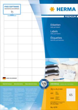 HERMA 4270 Etiketten Premium A4, weiß 38,1x21,2 mm Papier matt