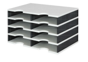 Ablagesystem Ablage styrodoc duo 8 Sortier Fächer grau-schwarz