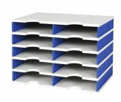 Ablagesystem Ablage styrodoc duo 10 Sortier Fächer grau-blau