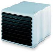 Ablagebox styrowave mit 8 Schub. geschl., grau/schwarz