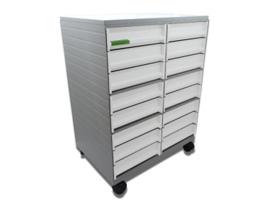Rollmöbel Messemöbel  Sortierschrank 16 Fächer mobil grau weiß