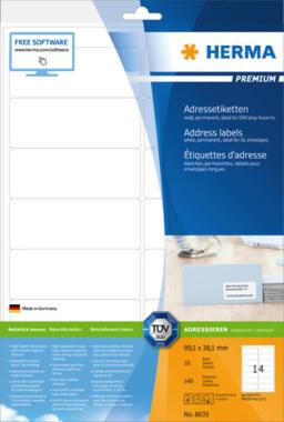 HERMA 8635 Adressetiketten Premium A4, weiß 99,1x38,1 mm Papier matt